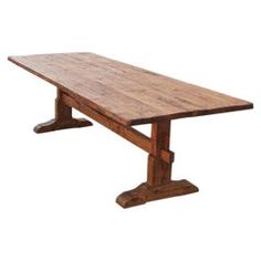 Ken Petersen Dining Room Table / Dining Table - Trestle Vintage Pine Made Petersen Antiques American Country Reclaimed Wood Trestle Table Plans, Trestle Dining Tables, Walnut Dining Table, Square Dining Tables, Wooden Tables, Pallet Tables, Dinning Table, Wood Table Design, Table Designs