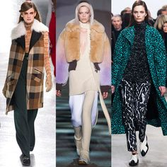 The New York Fall 2014 Runway Report  Some major trends this fall are green hues, colorful furs, plaids, and heavy knits. A lot of layering for the fall is typical but these layers are extra long and full of pattern. Maggi m.