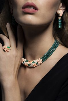 Coral, Green Agate and Diamond Parure by #VanCleef & Arpels. #ChristiesJewels