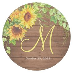 Shop Wood Sunflower Hop Blossom Rustic Monogram Round Paper Coaster created by Elle_Design. Stencil Wood, Wood Vinyl, Painted Wood Signs, Hand Painted, Wooden Signs, Wooden Pallet Projects, Wood Circles, Watercolor Sunflower, Woodworking Kits