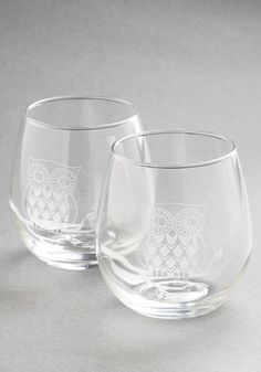Owl Have the Red Wine Glass Set. You and your best friend always have such a hoot catching up over a nice Pinot Noir sipped from this sweet pair of stemless wine glasses. #gold #prom #modcloth