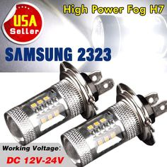 2 x Pure White High Power 15W 2323 SMD H7 LED Fog Driving Light Bulbs 1200LM US  #H7HighPower2323chipsFOGDRIVINGLightDRL