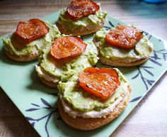 Hummus/avacado toasts with baked tomato!