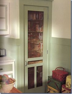 Screen door kitchen pantry's are a wonderful growing trend. We are seeing a lot of old screen doors being re-purposed … Continued Screen Door Pantry, Kitchen Pantry Doors, Diy Screen Door, Kitchen Pantries, Vintage Screen Doors, Old Screen Doors, Old Doors, Small Pantry, Walk In Pantry