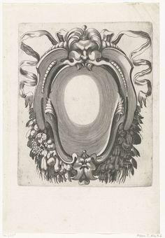 H. Picart   Cartouche met guirlandes onderaan, H. Picart, Federico Zuccaro, Anonymous, c. 1628   Midden boven hangt een mascaron met een knop op het hoofd en linten achter zich.