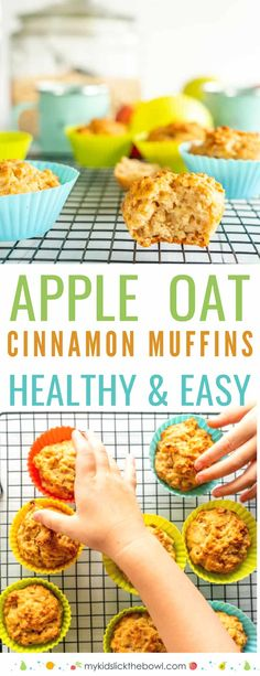 Healthy Easy cinnamon spiced apple muffins, made with applesauce, and oatmeal a dairy free egg free vegan recipe also great for toddlers muffins healthyrecipe muffinrecipe vegan babyledweaning kidsfood Healthy Muffin Recipes, Healthy Meals For Kids, Kids Meals, Healthy Snacks, Toddler Meals, Healthy Muffins For Toddlers, Healthy Easy Food, Healthy Cooking, Healthy Eating