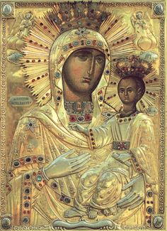 Icon of Our Lady of Neamt, Icoana Maicii Domnului de la Mănăstirea Neamț Religious Images, Religious Icons, Religious Art, Byzantine Icons, Byzantine Art, Holly Pictures, Images Of Mary, Art Thou, Madonna And Child