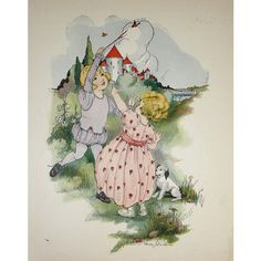 Vintage 1923 Fairy Tale Illustration Book Plate Print- The Babes in the Wood, Two Children Playing, A Boy and Girl