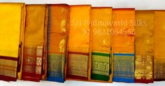 Mangalagauri Collection - Kancheepuram handloom Pure Silk Sarees with traditional contrast borders for the authentic Marathi mulgi look. Beautiful Yellows that are perfect for auspicious occasions like haldi, godhbharai, weddings, and Mama's gift to the bride! Book now 91 9821054556 Sri Padmavathi Silks, the only South Indian store in Dombivli, India. Kancheepuram handloom pure silk sarees in Mumbai. International shipping available. All credit and debit cards accepted. Wholesale orders…