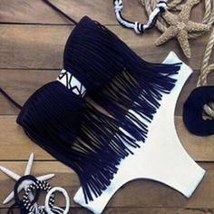Stylish Halter Fringed Women's Bikini Set
