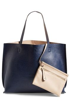 Street Level Reversible Vegan Leather Tote & Wristlet available at #Nordstrom - love the hunter green/cognac
