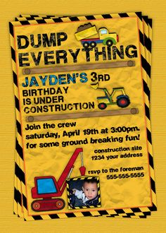 Construction Birthday Party Invitation / invite - Personalized DIY