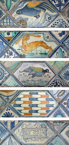 Tiles at Villa D'Este, Tivoli, Italy Handmade tiles can be colour coordinated and customized re. shape, texture, pattern, etc. by ceramic design studios