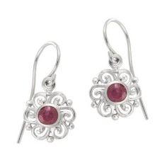 Sterling Silver Ruby Celtic Round Drop Earrings, (ruby earrings, sex toy)