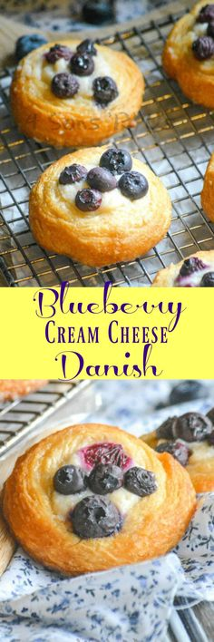 A perfect breakfast pastry, this Blueberry Cream Cheese Danish has a buttery, flaky crust topped with sweetened cream cheese and ripe blueberries ready to burst with every bite.