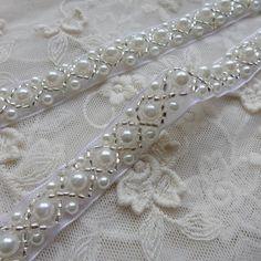 Beaded Lace Trim Ivory Pearl Beaded Trim 36 long   Etsy Beaded Trim, Beaded Lace, Beaded Embroidery, Lace Trim, Beaded Jewelry Patterns, Beading Patterns, Wedding Dress Sewing Patterns, Couture Beading, Bridesmaid Belt