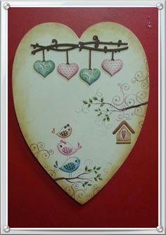 Placa decorativa de coração