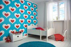 Hip kinderbehang met schattige hartjes | Cute #wallpaper for the #kidsroom