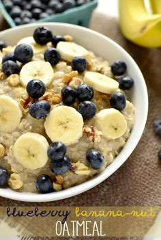 Blueberry Banana-Nut Oatmeal is metabolism-boosting and full of fiber and antioxidants. Ready in just 6 minutes, it's the perfect breakfast recipe to begin your day with.  #glutenfree  | iowagirleats.com
