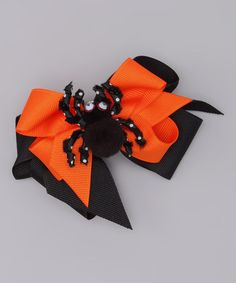 Take a look at this Picture Perfect Orange Bow & Black Spider Clip by Picture Perfect Hair Bows on #zulily today!