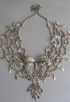 Special filigree silver necklace of Ottoman style work Yemen Sa'na hallmarked