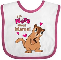 Inktastic Baby Boys Im Nuts About My Mama Baby Bib WhiteRaspberry >>> Visit the image link more details.