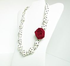 White and Black Polka Dots Beaded Nursing Necklace by RubyRebels, $16.99