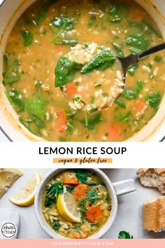 Tasty Vegetarian Recipes, Vegan Soups, Vegan Dinner Recipes, Vegan Dishes, Veggie Recipes, Whole Food Recipes, Cooking Recipes, Healthy Recipes, Vegetarian Rice Soup