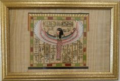 $79 for This Framed papyrus painting is of Winged Isis goddess of Protection and Healing. She was worshipped for more than 3000 years in ancient Egypt. It is an exact replica of the original found in King Tut's tomb in the Valley of the Kings at Luxor in Egypt.
