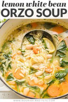 Easy Soup Recipes, Healthy Crockpot Soup Recipes, Vegetarian Recipes, Orzo Recipes, Lemon Orzo Soup, Italian Orzo Spinach Soup, Italian Soup, Spinach Recipes, Spinach Meals