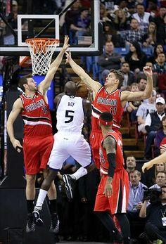 Sacramento Kings Quincy Acy, Portland Trail Blazers Joel Freeland, Meyers Leonard