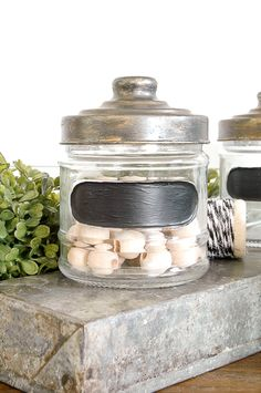 An easy way to turn simple Dollar Tree jars into the perfect industrial storage! Rub N Buff, Country Decor, Farmhouse Decor, Decorating Your Home, Diy Home Decor, Diy Decoration, Decorations, Antique Brass Faucet, Country Kitchen Flooring