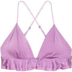 Triangle Bikini Top $19.99 ($20) ❤ liked on Polyvore featuring swimwear, bikinis, bikini tops, ruffle swimsuit top, lavender bikini, triangle swim top, ruffle tankini top and swimsuit tops