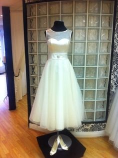 Hepburn Tea Length Wedding Dress by Laura Leigh Couture.