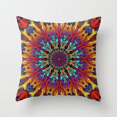 Amazing colors 3D mandala throw pillow.  By Natalia Bykova