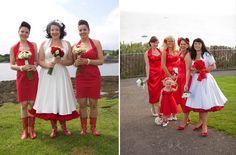 bride and bridesmaids in Vivien of Holloway dresses