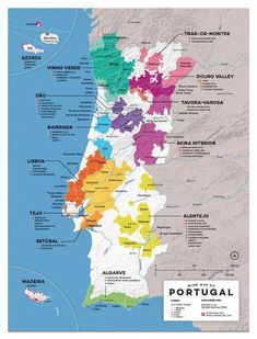 Portugal Wine Map Get the latest wine news and trends all the way from USA, Australia, and New Zealand! Get to know your favorite types of wine with us! Algarve, Wine Lovers, Wine Folly, Spanish Wine, Speak Spanish, Wine Subscription, Wine Guide, Wine Brands, Italian Wine