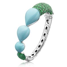 India Collection bracelet with emeralds and turquoise drops by de Grisogono