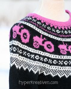 Made mainly from the well known Marius-pattern, only x-o-x's were exchanged for bright pink tractors inspired by Moods of Norway. Sorry I didn't take notes about yarn amounts et. Pink Tractor, Little Cotton Rabbits, Mohair Sweater, Knit Patterns, Knitted Hats, Doll Clothes, Knitwear, Knit Crochet, Sweaters For Women
