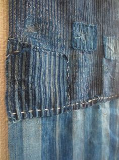Antique Japanese indigo boro textile/scarf. Long + stripes. $140aud www.naturecollect.com