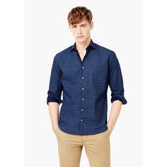 Camicia slim-fit cotone stampata - Camicie da Uomo   MANGO (€40) via Polyvore