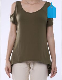 Solid Color  Chic V-Neck Cut Out Short Sleeve T-Shirt For Women