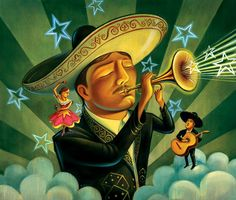 Lowbrow Portraiture of Chris Buzelli - Tartuffe's Folly Chicano, Clemente Orozco, Mexican Art, Mexican Stuff, South Of The Border, Charro, Blue Crew, Lowbrow Art, Arte Popular
