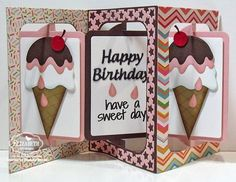 Frances Byrne using the Pop it Ups Rectangle Accordion and Katie Stars Frame Edges die sets by Karen Burniston for Elizabeth Craft Designs. Also uses ECD Ice Cream Cone and Happy Birthday dies - U R Sweet