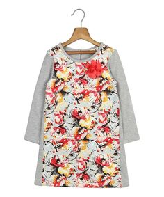 Another great find on #zulily! Gray & Red Floral-Bodice A-Line Dress - Toddler & Girls by Beebay #zulilyfinds