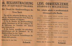 Wieczorne występy- obwieszczenie o możliwości obejrzenia występu cyrku Buscha i związanej z tym zmianą godziny policyjnej. Kraków 13 czerwca 1940 r.