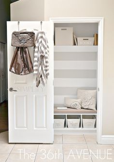 Transform the front entry closet into a mudroom/drop-off station. So smart because who ever even uses their front closet for anything other than the vacuum anyways? LOVE THE USE OF BACK OF DOOR. Decor, Home Diy, Room Closet, Home Organization, Small Closet, Closet Bedroom, Entry Closet, Closet Transformation, Home Decor