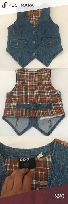 Urban Outfitters BDG denim vest Great condition, 98% cotton, 2% spandex. Denim vest Urban Outfitters BDG. No trades, offers welcome!                                  IL47 Urban Outfitters Jackets & Coats Vests