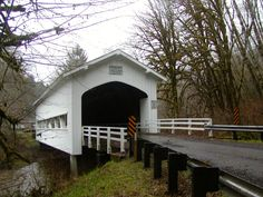 Deadwood Creek Covered Bridge spans Deadwood Creek, off Highway 36 in the Coast Range.