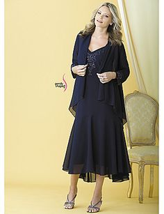 Special occasion dressing at its most flattering. Flirty lined tank dress with wide cami-straps and bead-embellished neckline. Sheer cascade jacket with asymmetric hem and bead-trim sleeves adds a stylish layer. Shaped A-line fit. 100% woven polyester. Ha catherines.com